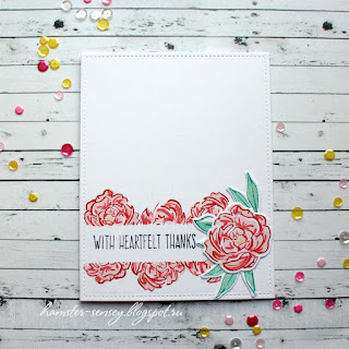 Neat&Tangled dala horse wplus9 pretty peonies pink cas clean&simple card with heartfelt thanks handmade Hamster-sensey cardmaking scrapbooking открытка чисто и просто цветы пионы розовый спасибо