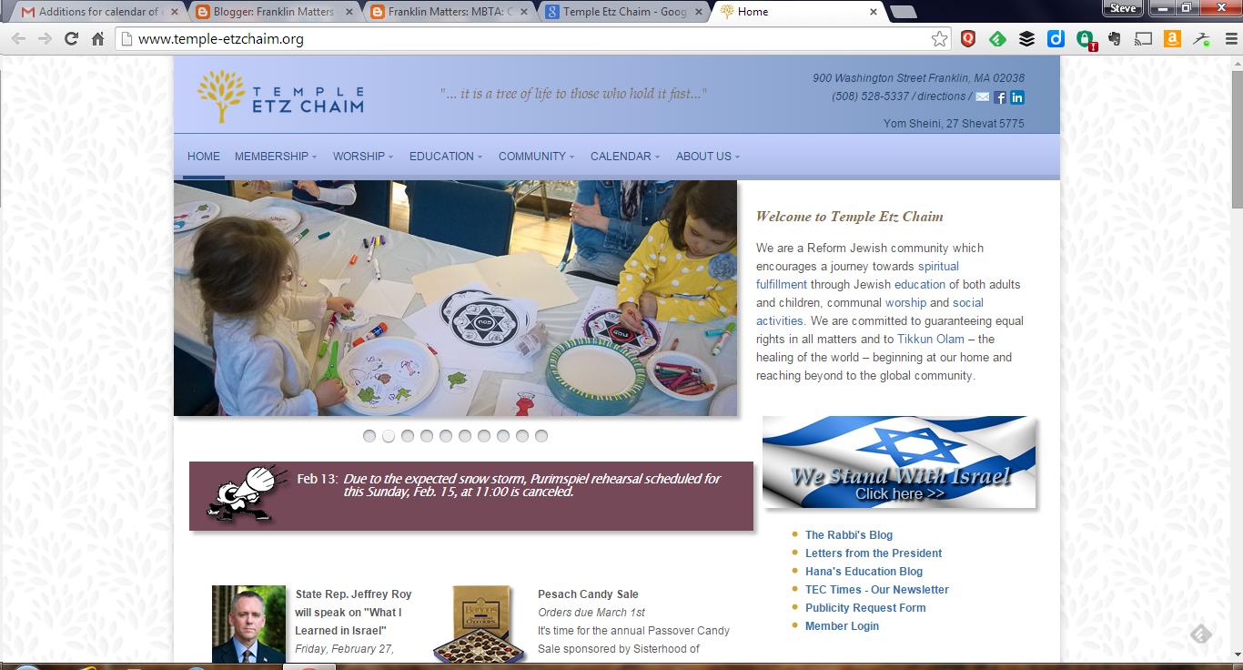screen grab of Temple Etz Chaim webpage