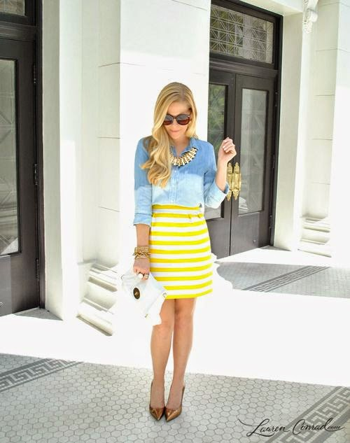 love the striped skirt chambray top! find more women fashion ideas on lovely woman