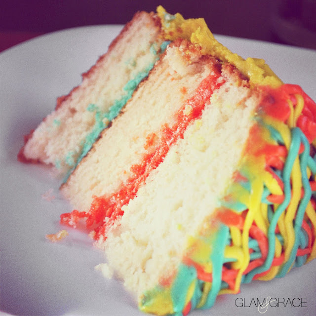 Colorful layer cake slice