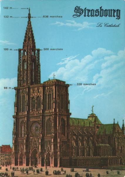 old image of Strasbourg cathedral with heights