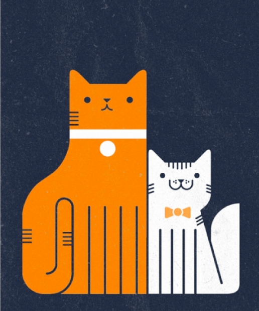 ginger and  white cats illustration