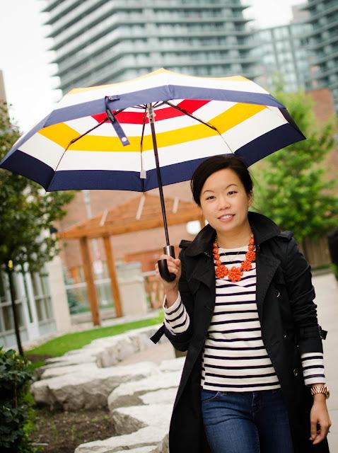 Hudson's Bay Company Collection Umbrella, J.Crew side seam sailor top, J.Crew statement jewellery, Hunter Wellies, rainwear