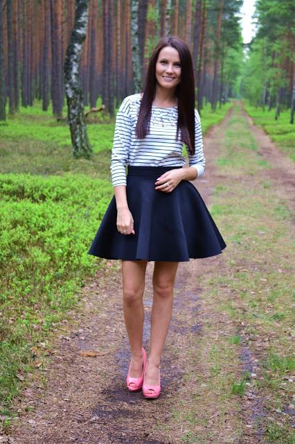 Strips and black skirt