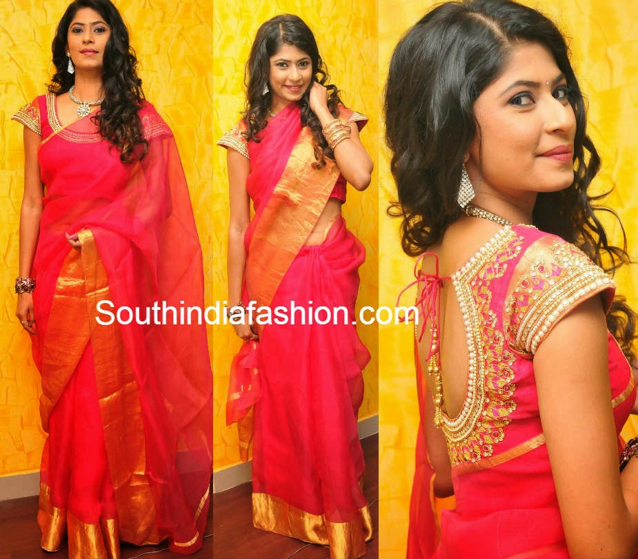 plain chanderi sarees with gold borders