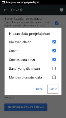 Cara Menghapus Cache dan Cookies browser Chrome di Android