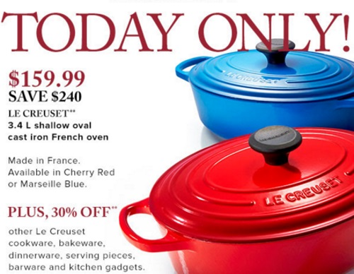Hudson's Bay Le Creuset Cast Iron French Oven $159.99 + 30% Off Othe Creuset Cookware, Bakeware, & Kitchen Gadgets