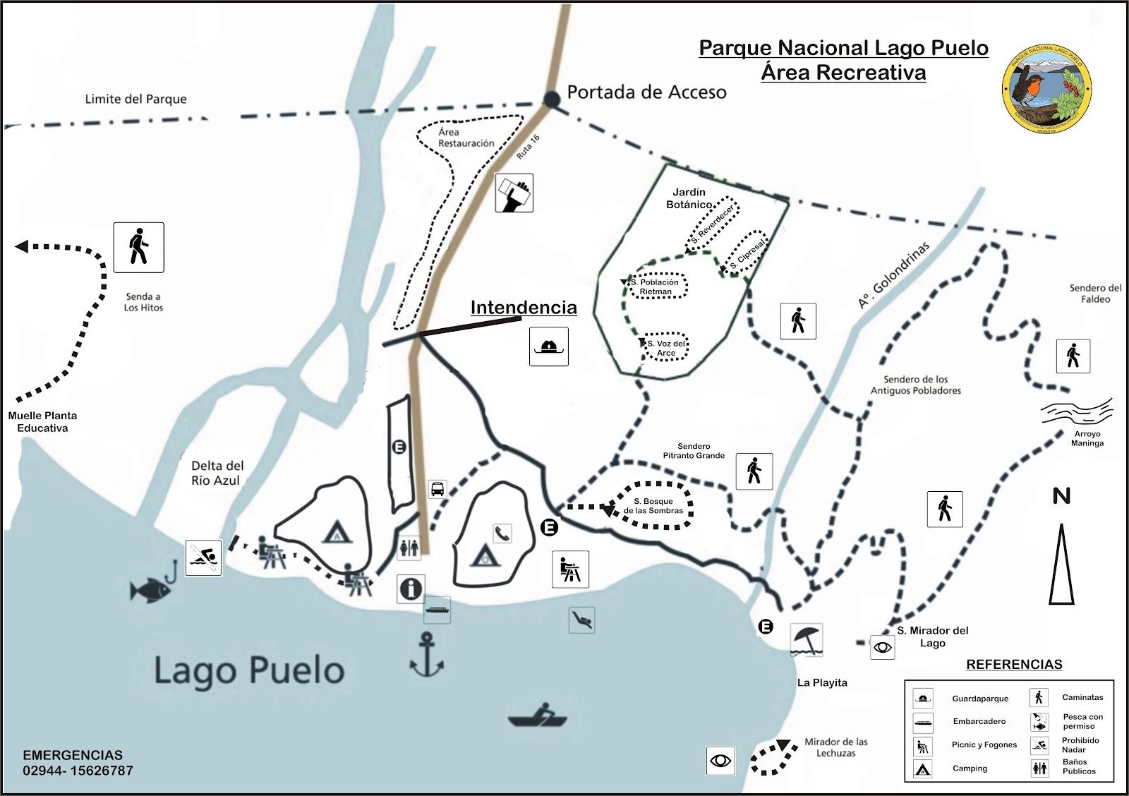 El área recreativa del Parque Lago Puelo, punto de partida de los senderos de trekking - Hacé click para agrandar y descargar.