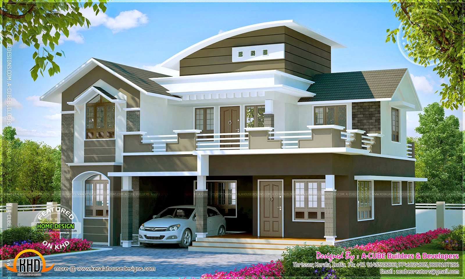 Well designed villa exteriors kerala home design and for Home plans designs kerala