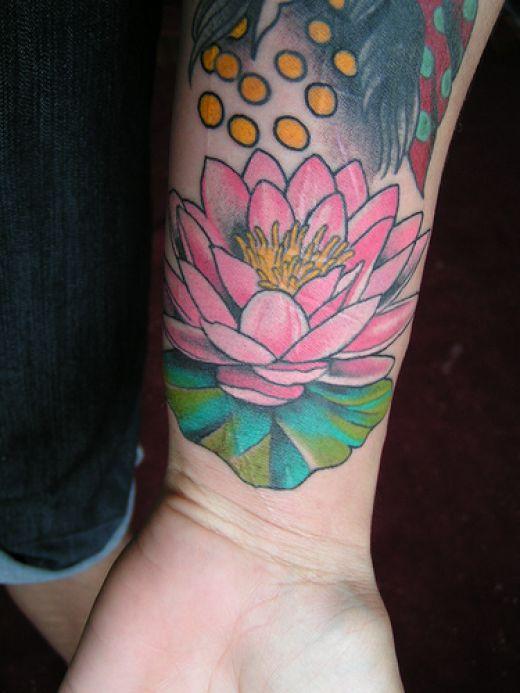 Lotus Flowers Tattoos. Nice lil wrist lotus flower