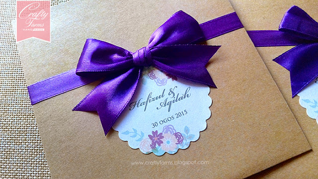 Rustic Brown with Purple Ribbon Wedding Card Malaysia