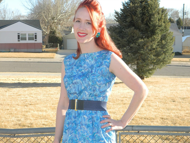 1960s silk wiggle dress watercolor enamel earrings Just Peachy, Darling