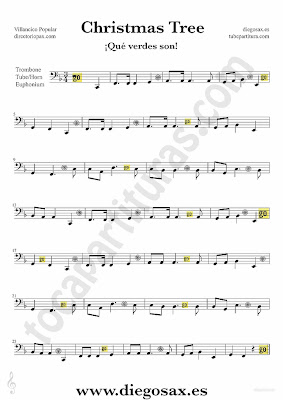 Tubescore Christmas Tree sheet music for Trombone, Tube and Euphonium Christmas Carol music score