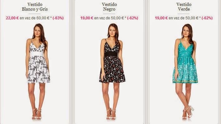 Tres ejemplos de los vestidos de tirantes finos
