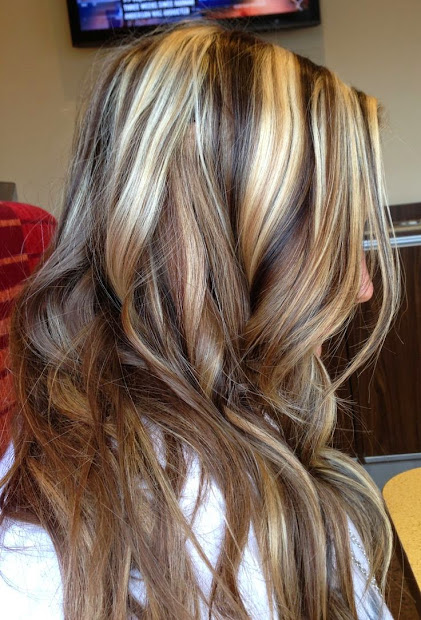 blonde highlights with black lowlights