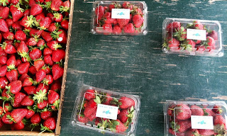 Farm stand strawberries in North Carolina