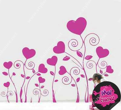 Stylish hearts wall stickers for living room walls