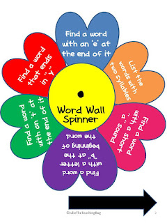 Freebie Word Wall spinner PDF teachers pay teachers