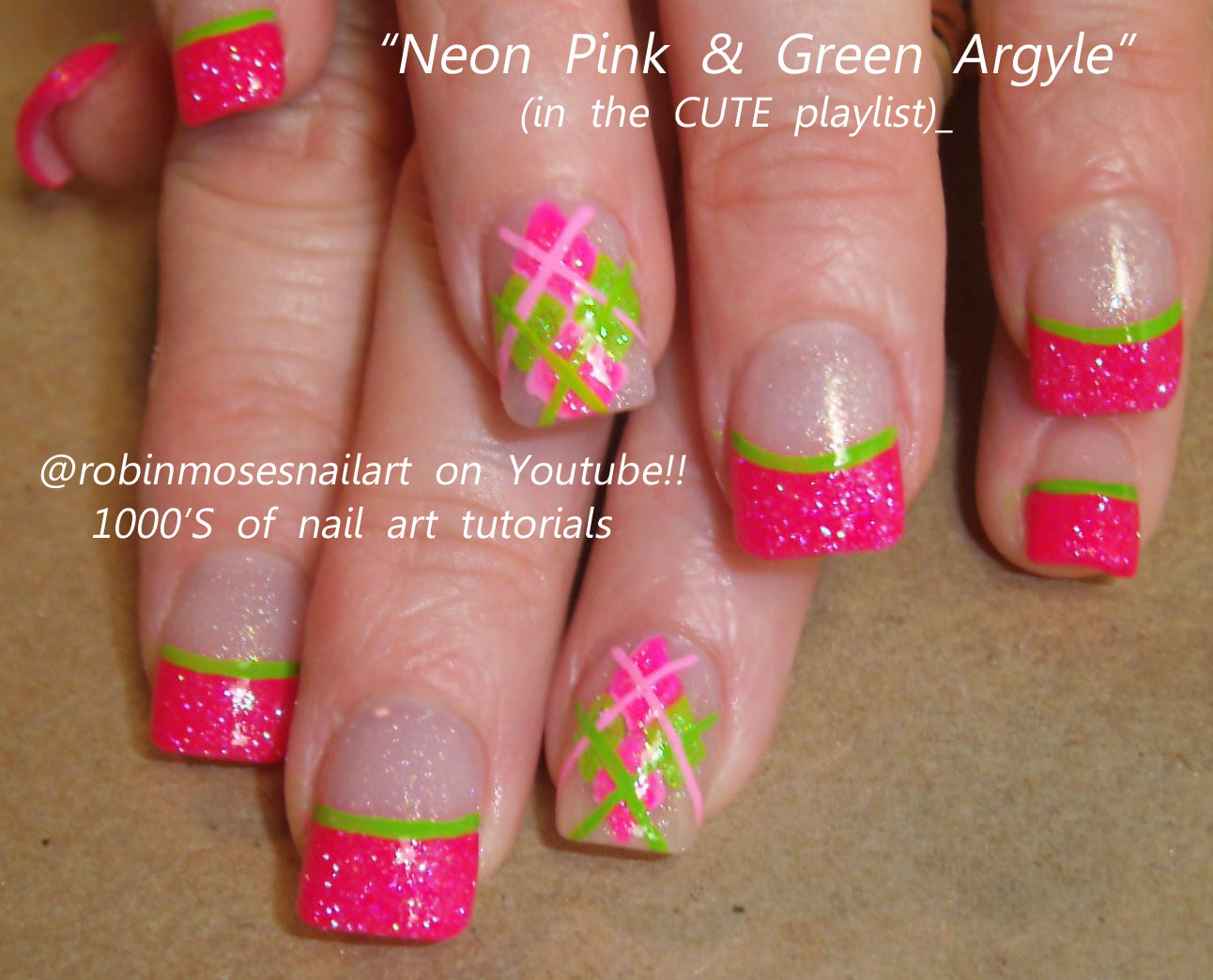 pink and green nail designs