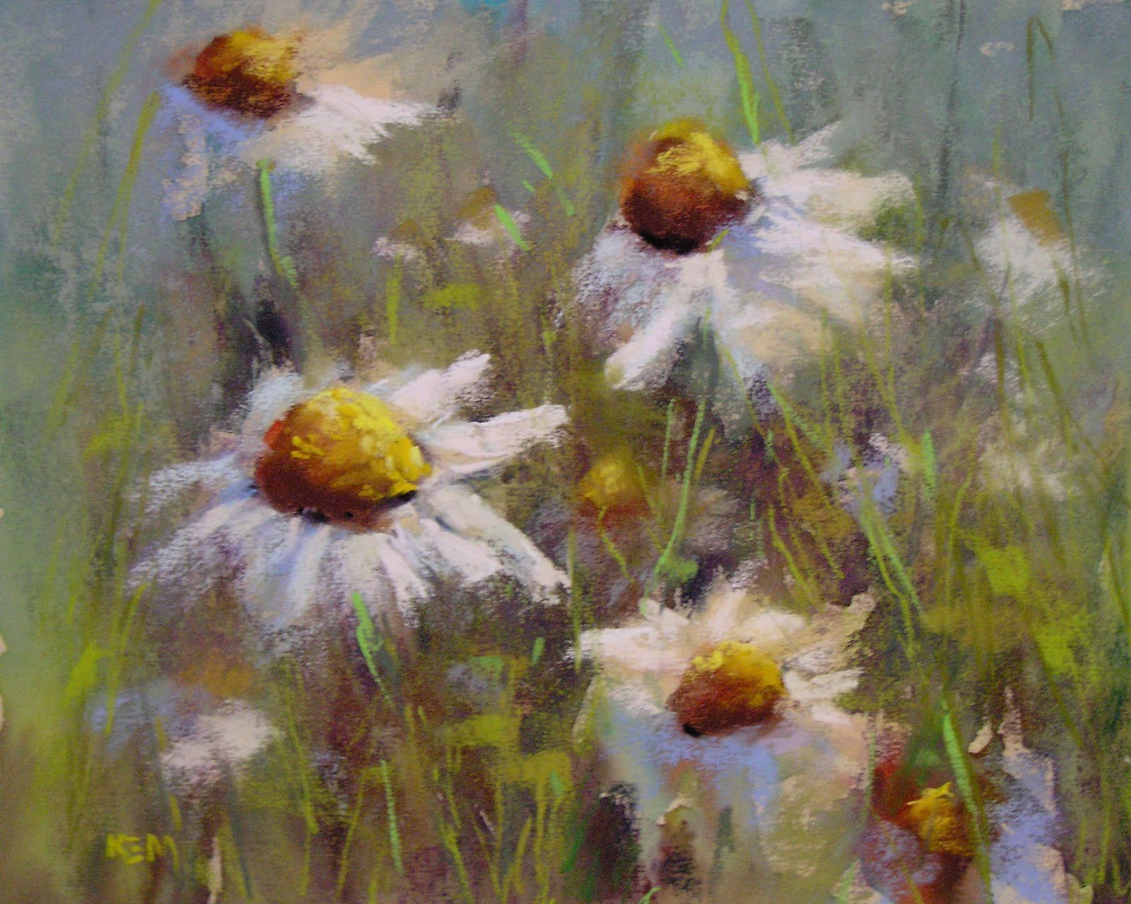 Painting My World: A New Daisy Painting 8x10 pastel SOLD