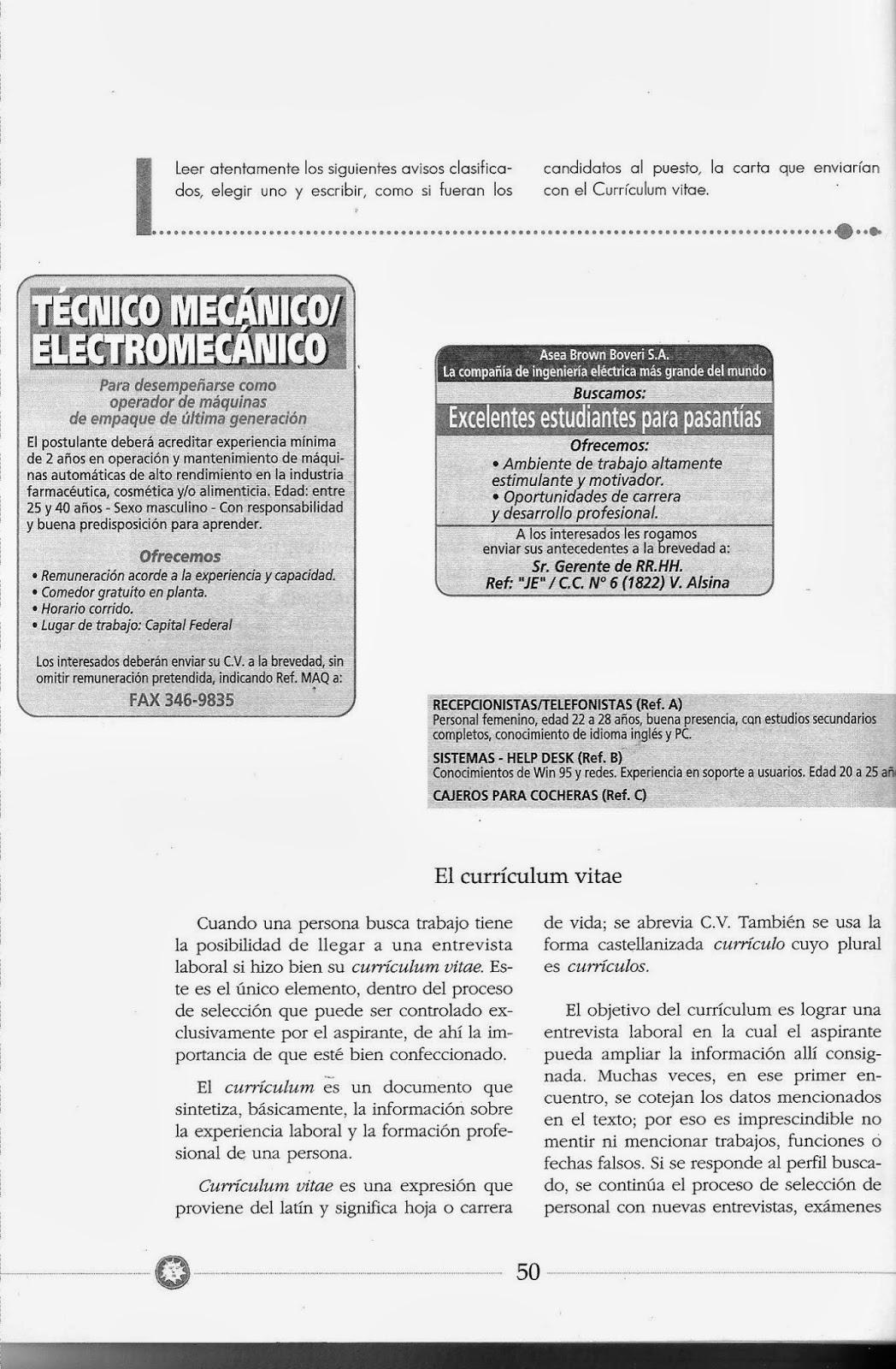 Profe Gilda: COMUNICACIÓN EN EL TRABAJO - AVISOS CLASIFICADOS - (3°1 ...