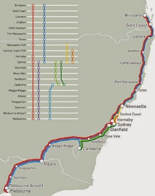 Map of high speed rail route from Beyond Zero Emissions high speed rail report