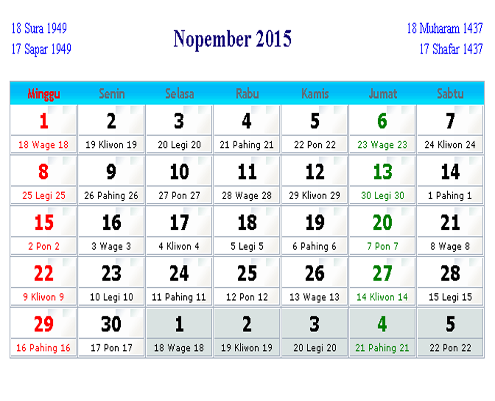 "... Results for ""Tanggalan Jawa November 2015"" – Calendar 2015"