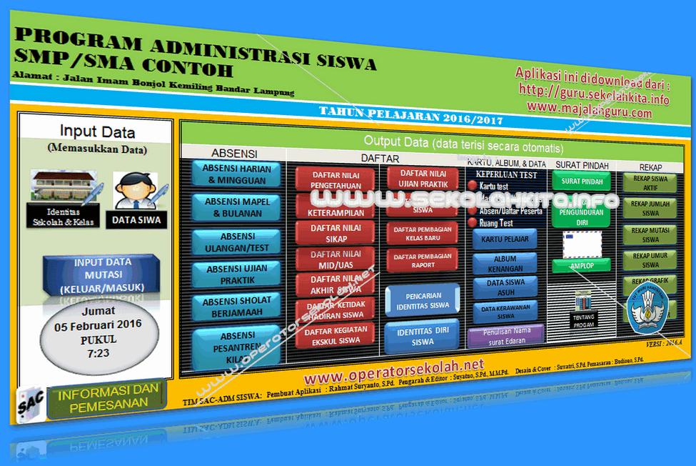 APLIKASI ADMINISTRASI SISWA SMP dan SMA KURIKULUM 2013 DILENGKAPI CETAK AMPLOP TAHUN 2016-2017