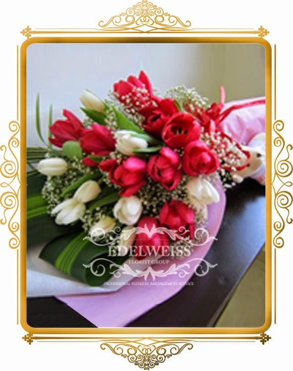 handbouquet bunga tulip, jual bunga tulip, karangan bunga ucapan ulang tahun