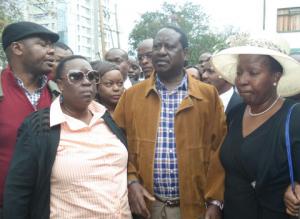 Kajwang Mourners led by Cord leader Raila Odinga