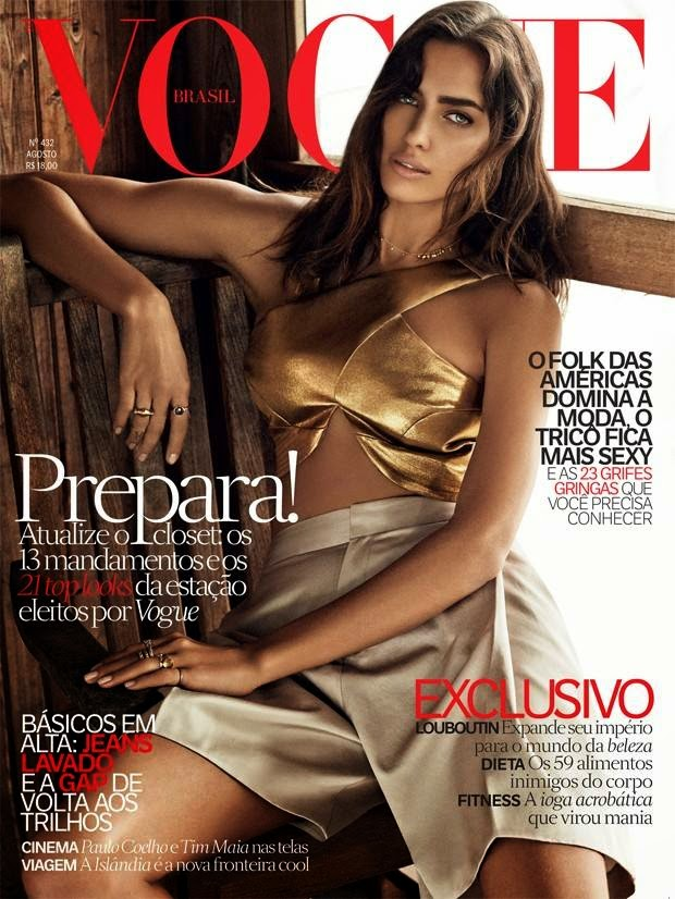 Irina Shayk goes bronzed for the Vogue Brazil August 2014 edition