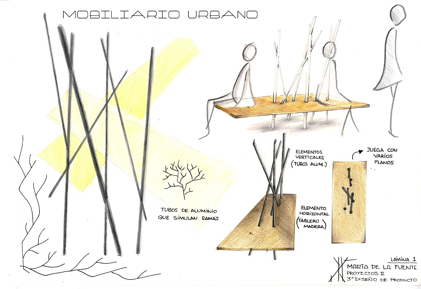 Marta de la fuente rinc n dise o bocetos generales del for Ejemplos de mobiliario urbano