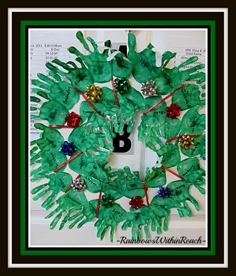 photo of: Painted Handprint Christmas Wreath for Bulletin Board