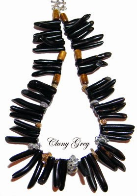 black coral necklace with lampwork beads