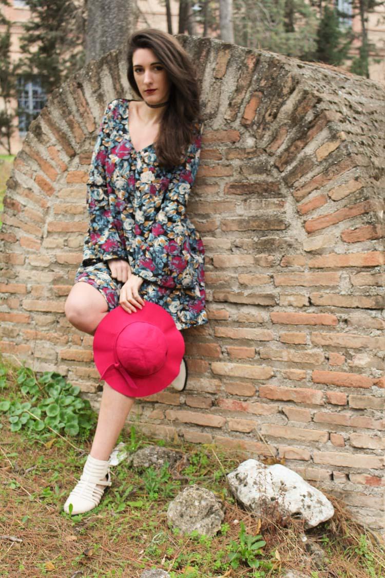 long sleeve flower dress, burgundy hat, ancle booties