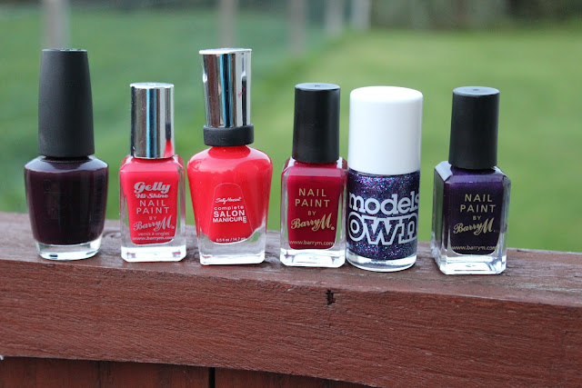 Dark shades for autumn, red nail polishes, purple nail polishes