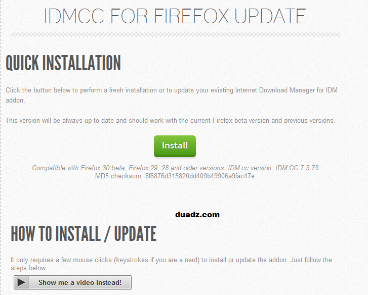 IDMcc for Firefox Update