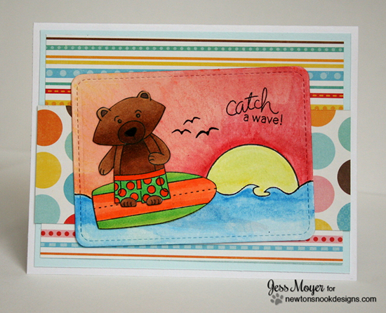Catch a wave surfing bear card by Jess Moyer for Newton's Nook Designs | Beach Party Stamp Set