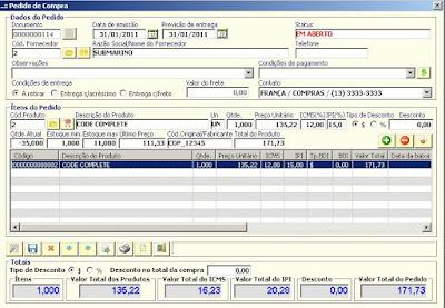 NeXT ERP 1414 Pedido de Compra