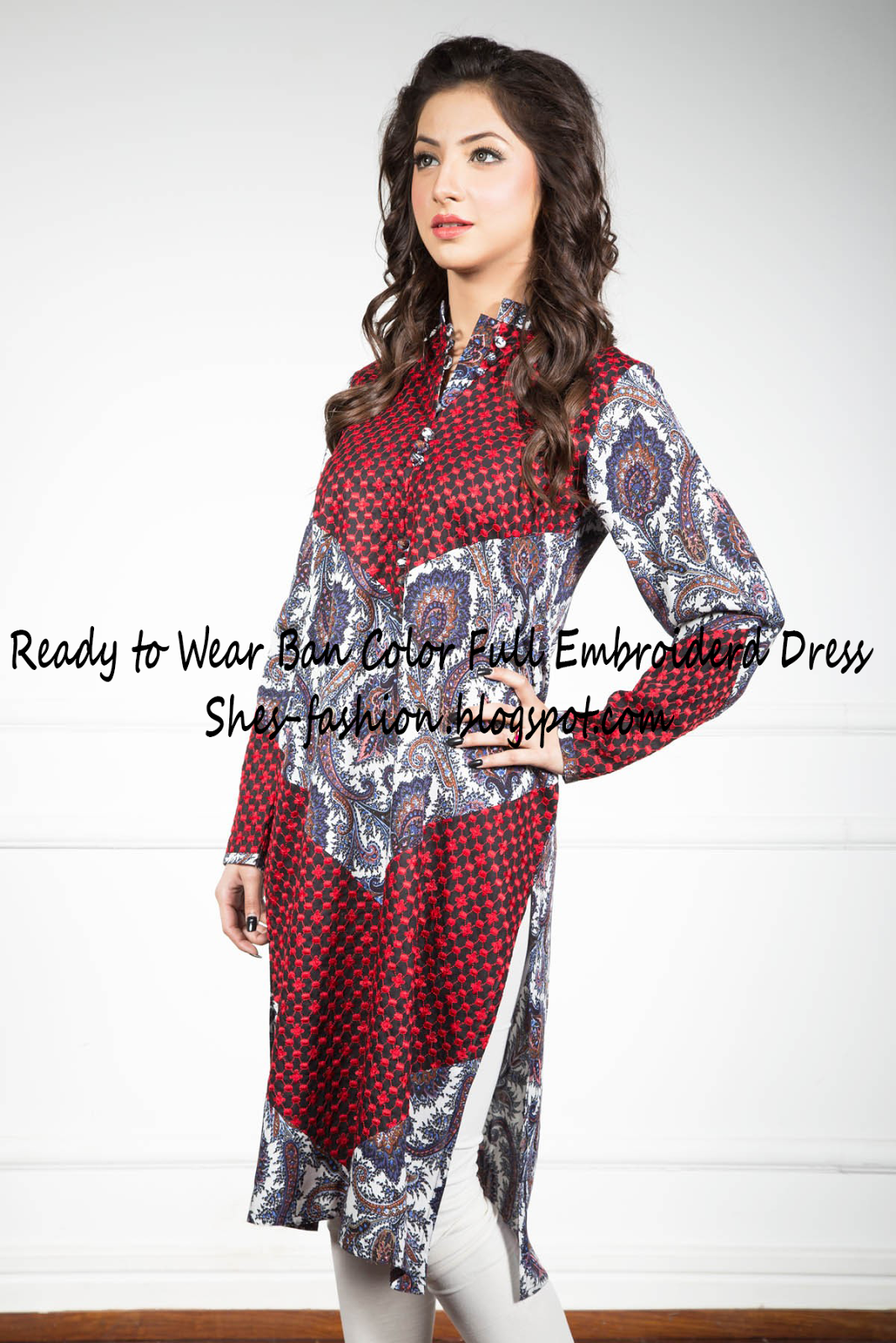 Ready to Wear Ban Color Full Embroiderd Dress