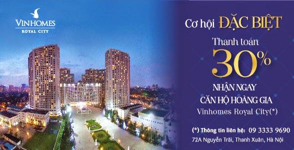 Cơ hội sở hữu căn hộ R6 Royal City chỉ thanh toán 30%
