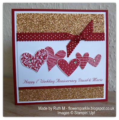 Flower Sparkle Hearts 1st Wedding Anniversary Card