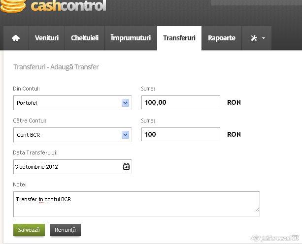cash control, adaugarea unui transfer de bani