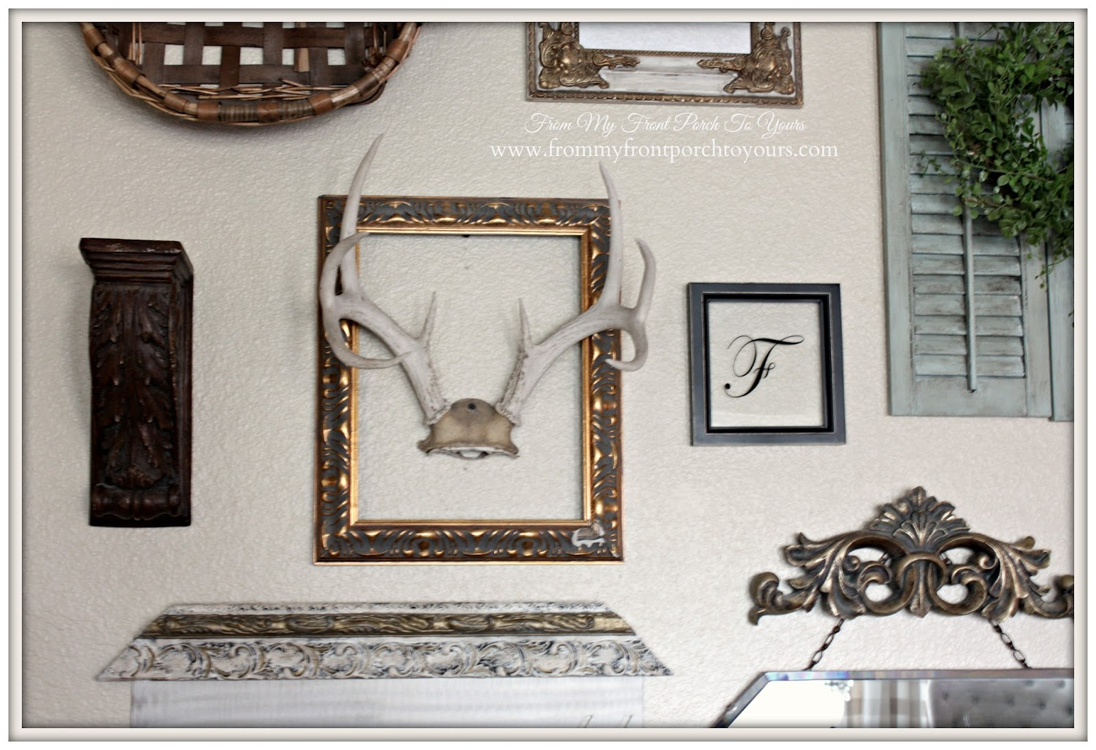Vintage Gold Frames & Antlers- Gallery Wall-From My Front Porch To Yours