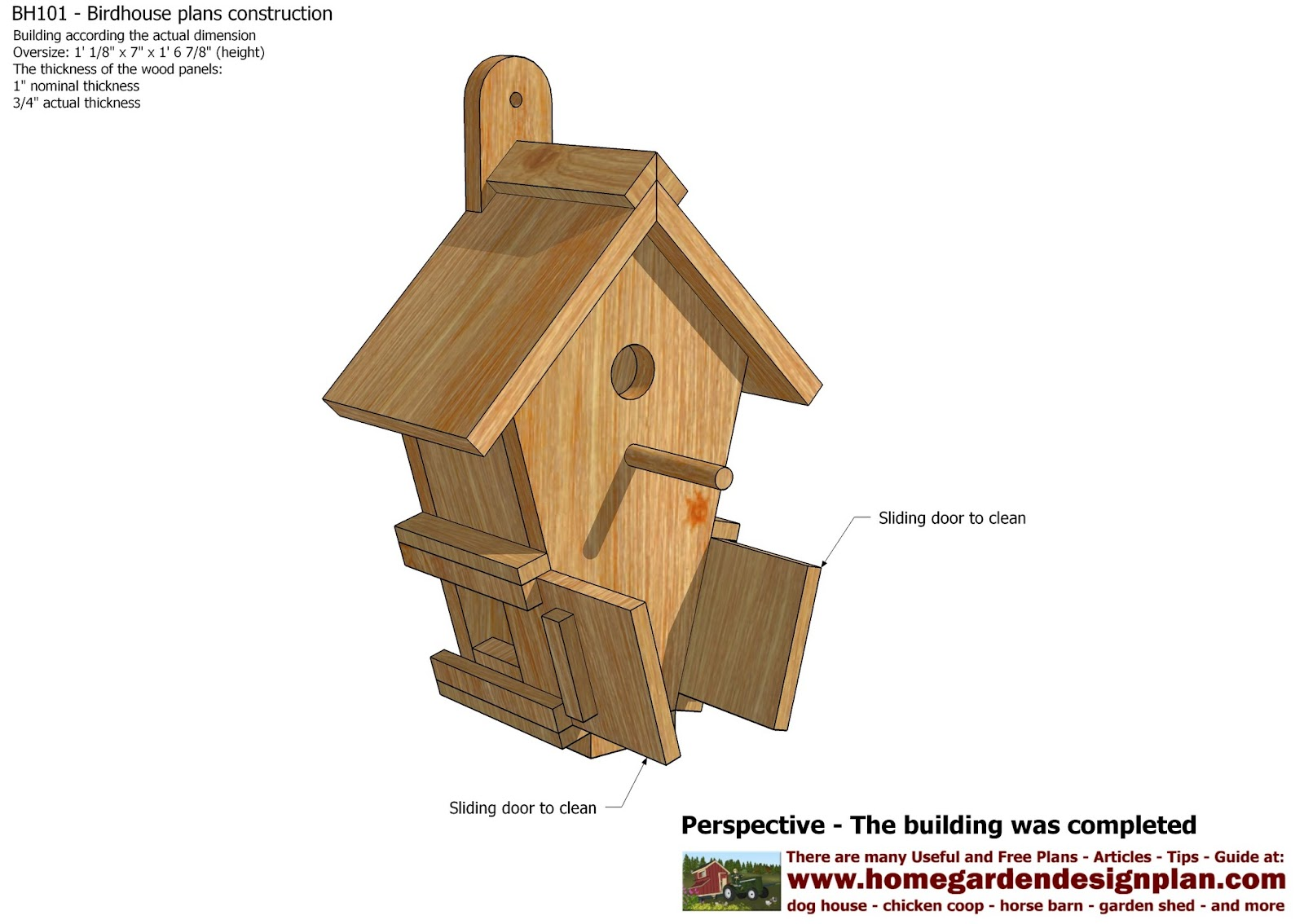 Home Garden Plans Bh101 Bird House Plans Construction