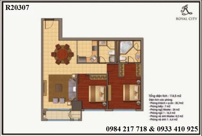 mua bán căn hộ chung cư Royal City, căn hộ R20307 diện tích 114.5 m2 loại 2 phòng ngủ giá tốt 5 tỷ 153 triệu