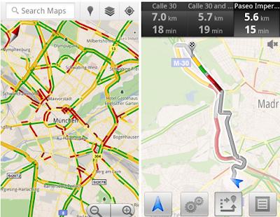 Google Maps trafico tiempo real Europa