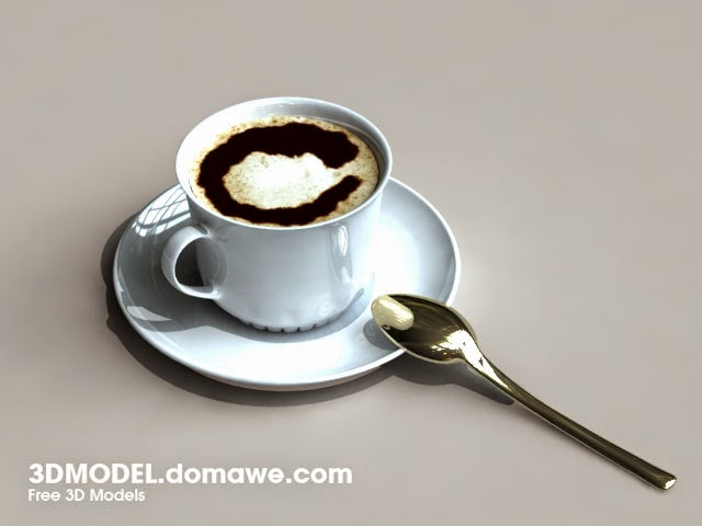 DOMAWE net: Coffee cup, Saucer, Spoon - Free 3D Models