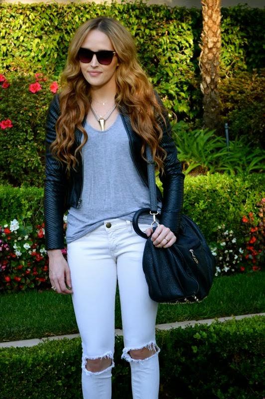 Weekend Casual-Golden Divine Blog- Ashley Murphy- BCBG Leather Jacket-Current Elliot Jeans-LA-LA fashion blogger
