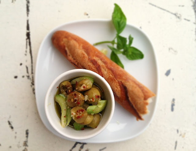 Marinated Olives and Celery